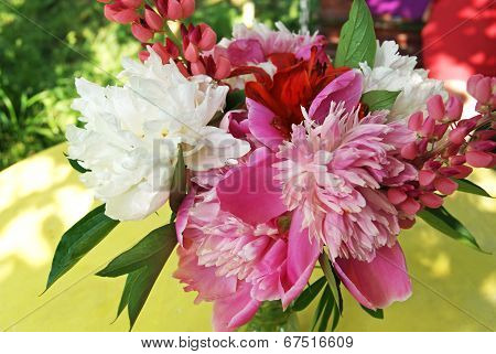 Bunch Of Peony, Lupine And Lily Flowers