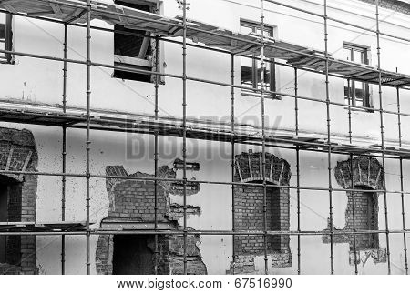 Scaffolding On A Renovation Wall