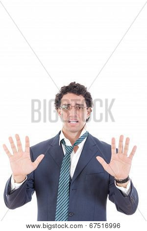 Man In A Suit Surrender With Hid Both Hands