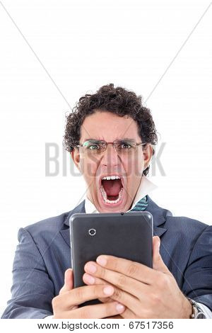 Pissed Off And Tired Man In Suit Uses Tablet For Work Or For Private Purpose
