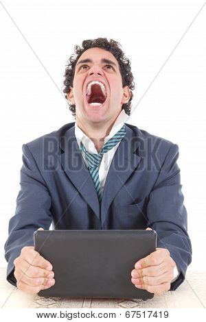Pissed Off Caucasian Business Male Frustrated With Work Sitting In Front Of Laptop With His Hands Tr