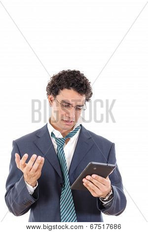 Upset And Tired Man In Suit Uses Tablet For Online Gambling