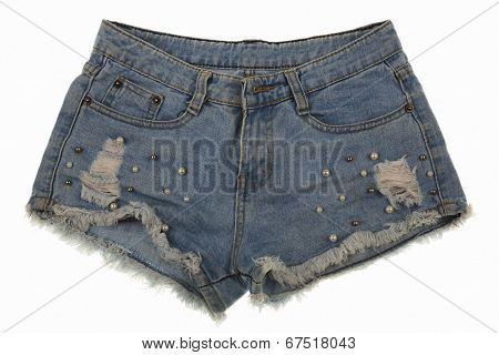 Old Worn Jean Shorts Isolated On White