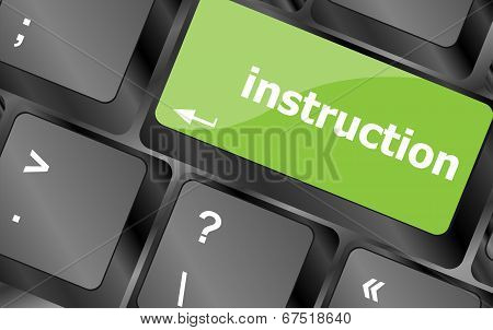 Close Up View On Conceptual Keyboard - Instruction