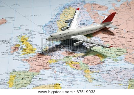 Model Of A Passenger Aircraft On Europe Map
