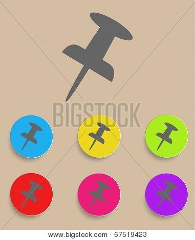 Push pin icon - flat design. Vector