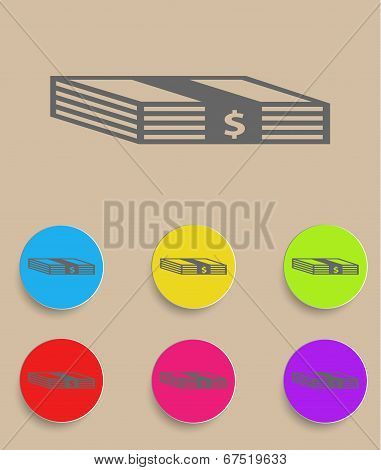 Set of flat colored simple web icons bundle of bank notes, money