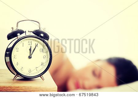 Beautiful caucasian woman sleeping in the morning.