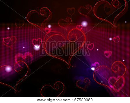 Hearts Background Shows Love Affection And Adoring.