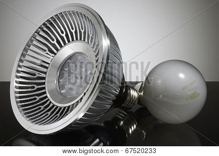 Modern LED light bulb and conventional light bulb