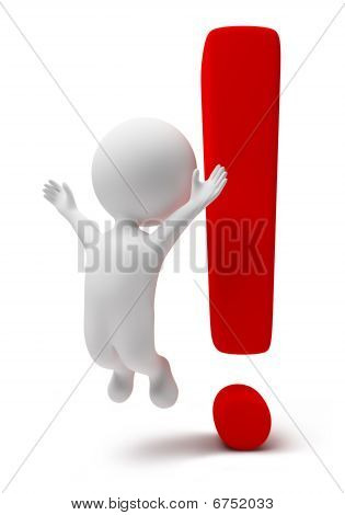 3D Small People-exclamation Mark