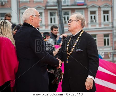 MOSCOW - JUNE, 28: Nikita Mikhalkov greeting Gleb Panfilov. 36st Moscow International Film Festival. Closing Ceremony at Rossiya Cinema . June 28, 2014 in Moscow, Russia