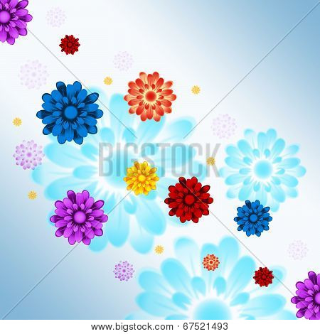Colorful Flowers Background Shows Flowery And Growth.