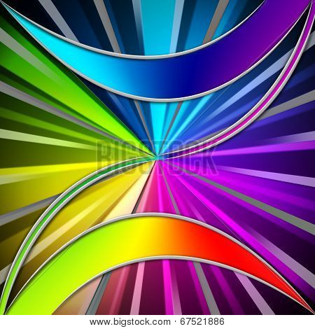 Colorful Leaves Background Means Plant And Rainbow Rays.