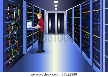 Man Working In A Data Center