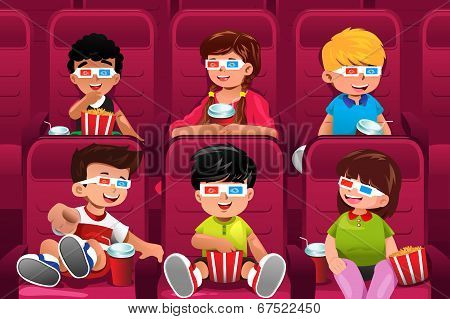 Happy Kids Going To A Movie