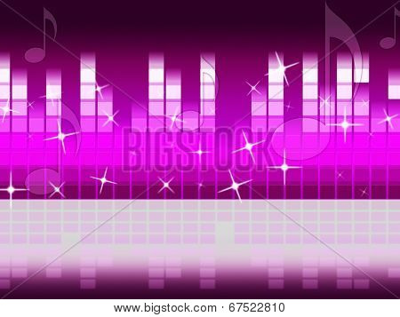 Pink Music Background Means Singing Jazz And Piece.