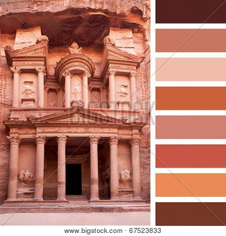 A view of the front facade of The Treasury, Petra, Jordan, in a colour palette with complimentary colour swatches
