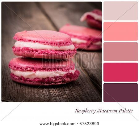 A stack of raspberry macaroon, vintage style over old wooden table,, in a colour palette with complimentary colour swatches