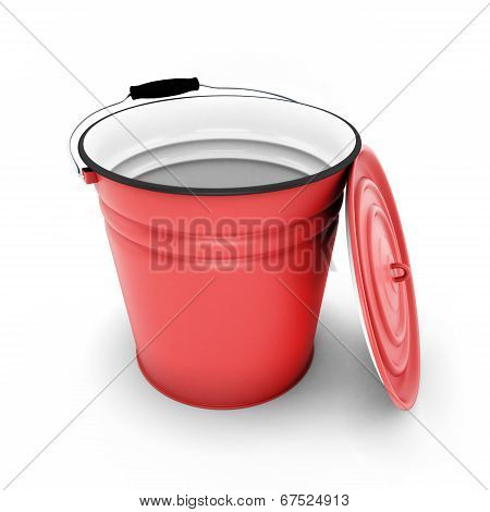 Red Bucket With Cover Removed