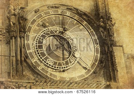 Vintage Image Of Prague Astronomical Clock, Orloj,  In The Old Town Of Prague