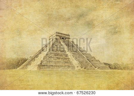 Vintage Image Of El Castillo Or Temple Of Kukulkan Pyramid, Chichen Itza, Yucatan, Mexico