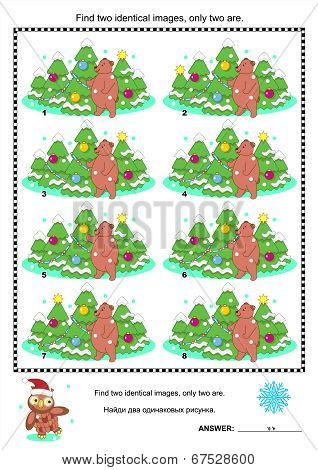 Visual puzzle - find two identical pictures of bear and christmas trees