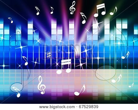 Multicolored Music Background Shows Playing Tune Or Metal.