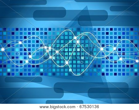 Double Helix Background Means Shining Squares And Shapes.
