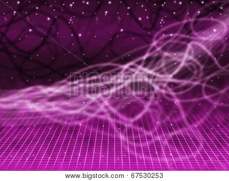 Purple Squiggles Background Means Tangled Lines And Stars.