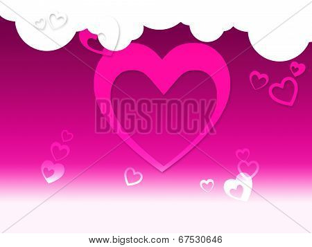 Hearts And Clouds Background Shows Peaceful Sensation Or Romanticism.