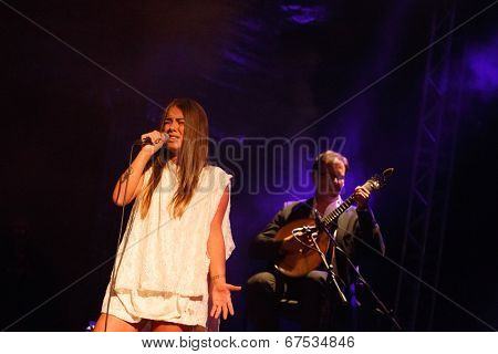 LOULE - JUNE 28: Gisela Joao a portuguese fado singer, performs on stage at festival med, a world music festival in Loule, Portugal, June 28, 2014