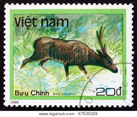 Postage Stamp Vietnam 1988 Hog Deer, Is A Smal Deer