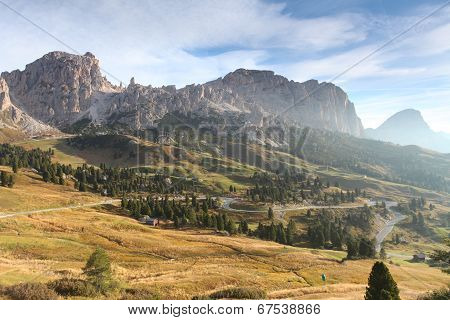 Italy Dolomites Moutnain At Sunrise - Road To Passo Gardena