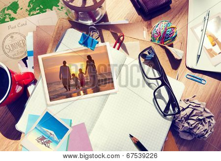 Desk with Summer Photographs and Notebook
