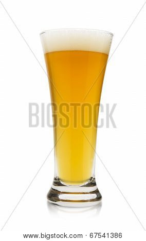 Golden Wheat Beer On White