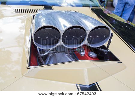 The air inlet of the sports car taken out outside on show of collection Retrofest cars