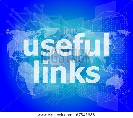 Seo Web Design Concept: Useful Links On Digital Background