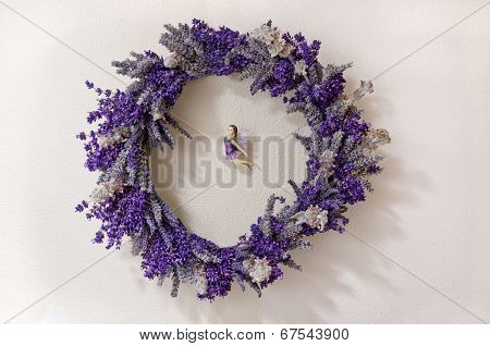 Lavender wreath with Fairy in the middle