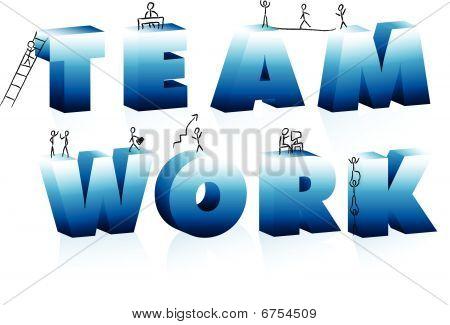 Doodle Cartoons escalando a palavra trabalho em equipe.
