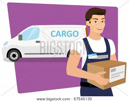 Delivery service man with a box in his hands and delivery car behind him