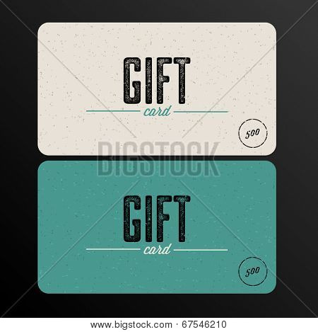 Vector Retro Gift card teal template