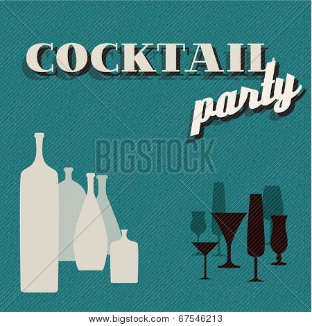 Vector teal Retro Coctail party invitation card with glasses and bottles