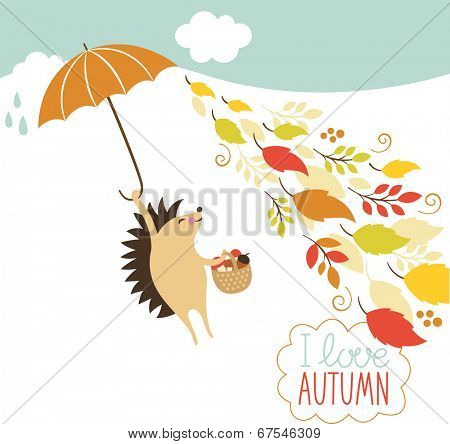 cute hedgehog fly with umbrella
