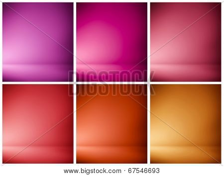 Abstract illustration background texture of beauty set with dark, light violet, lilac, purple, magenta, crimson, scarlet, red, orange gradient wall, flat floor in empty spacious darken room interior