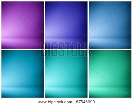 Abstract illustration background texture of beauty set with dark, light violet, lilac, purple, mauve, magenta, lavender, blue, azure, cyan gradient wall, flat floor in empty space darken room interior