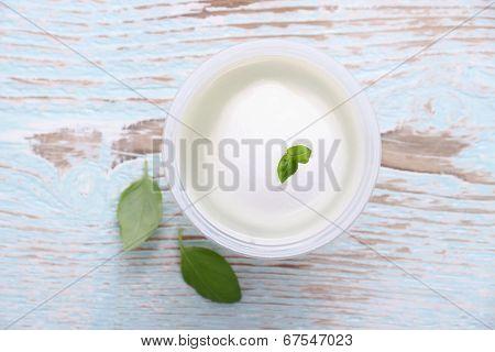 Mozzarella Cheese In Brine And Basil Leaf