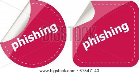 Phishing Word With Lock On Black Stickers Set