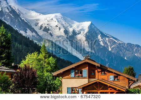 Beautiful Wood Chalet In Chamonix, France, Mont Blanc On A Sunny Day