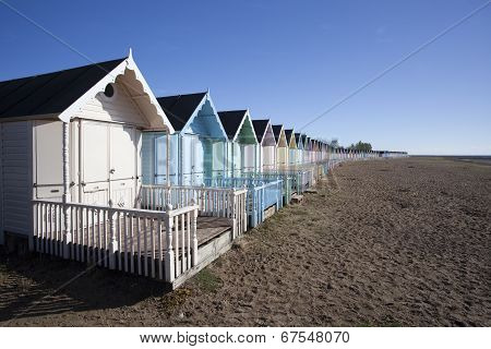 Beach Huts At West Mersea, Essex, England.